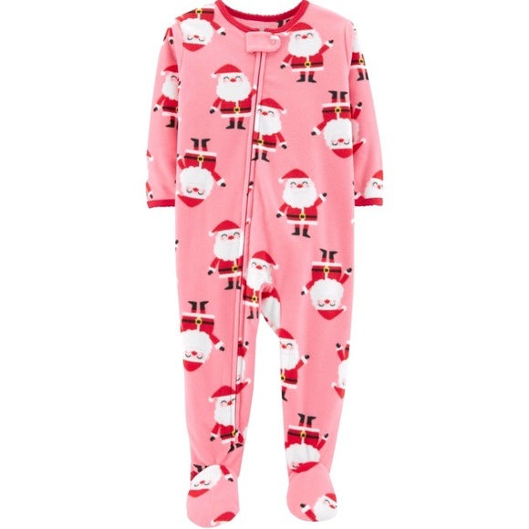 Carter s Girls Pink Santa Christmas Footed Pajamas. NWT 432295c79